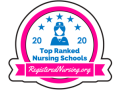 "White, pink and blue badge reading ""2020 Top Ranked Nursing Schools"""